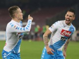 Napoli's midfielder Piotr Zielinski, left, celebrates with his teammate Marek Hamsik after scoring the goal (1-0) during the Italian Serie A soccer match between  SSC Napoli and CFC Genoa at San Paolo stadium in Naples, 10 February 2017. ANSA / CESARE ABBATE