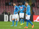 NAPLES, ITALY - MARCH 03: Jorginho, Kalidou Koulibaly and Piotr Zielinski stand disappointed during the serie A match between SSC Napoli and AS Roma - Serie A at Stadio San Paolo on March 3, 2018 in Naples, Italy.  (Photo by Francesco Pecoraro/Getty Images)
